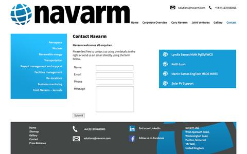 Screenshot of Contact Page navarm.com - Contact | Support Solutions | Dorset | Navarm - captured Oct. 9, 2014