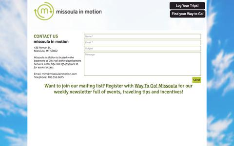 Screenshot of Contact Page missoulainmotion.com - Contact us | missoulainmotion - captured Aug. 12, 2019