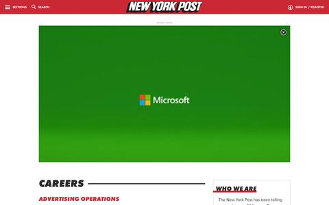Screenshot of Jobs Page nypost.com - Careers | New York Post - captured Jan. 14, 2016