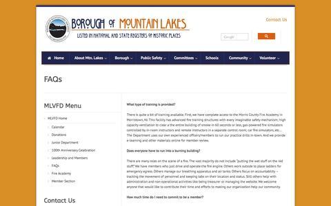 Screenshot of FAQ Page mtnlakes.org - Borough of Mountain Lakes  » FAQs - captured Jan. 26, 2017