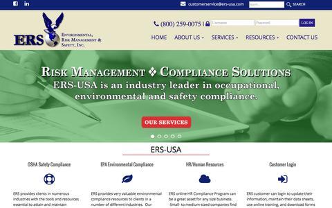 Screenshot of Home Page ers-usa.com - Environmental, Risk Management & Safety, Inc. – (800) 259-0075 - captured Nov. 9, 2016