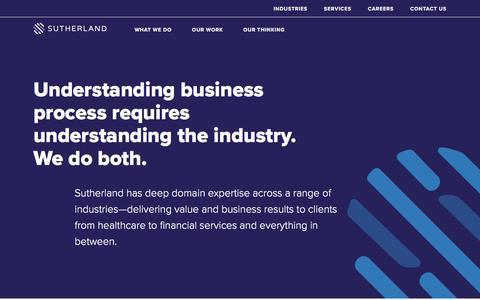 Screenshot of sutherlandglobal.com - Industries  - Sutherland Global Services - captured Aug. 19, 2017