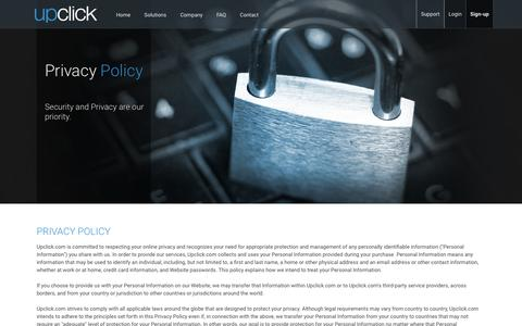 Screenshot of Privacy Page upclick.com - Privacy Statement - Upclick - captured Jan. 21, 2016