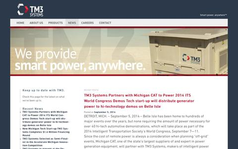 Screenshot of Press Page tm3systems.com - News - - captured Oct. 7, 2014