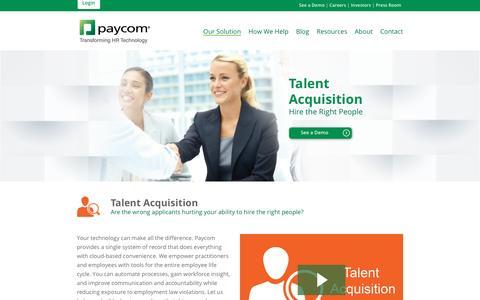 Paycom | Our Solution: Talent Acquisition