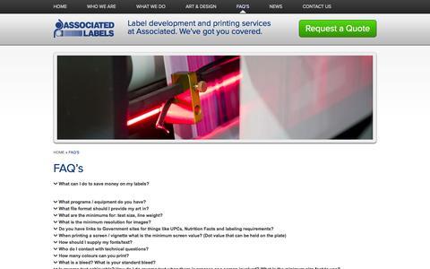 Screenshot of FAQ Page associated-labels.com - Green Label Printing Company   Associated Labels, Digital Label - captured Oct. 4, 2014