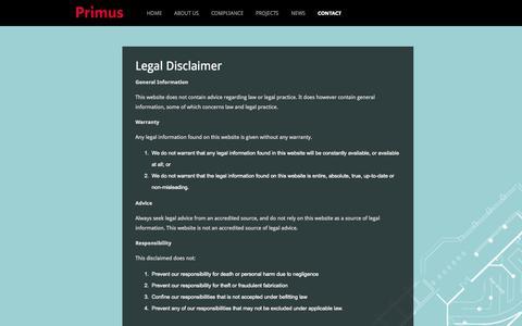 Screenshot of Terms Page primusbuild.com - Legal | Primus Build - captured Oct. 3, 2014