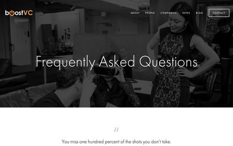 Screenshot of FAQ Page boost.vc - FAQ — Boost VC - captured Oct. 7, 2017