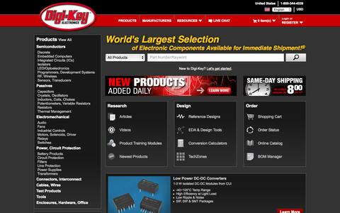 Screenshot of Home Page digikey.com - DigiKey Electronics - Electronic Components Distributor - captured Oct. 1, 2015