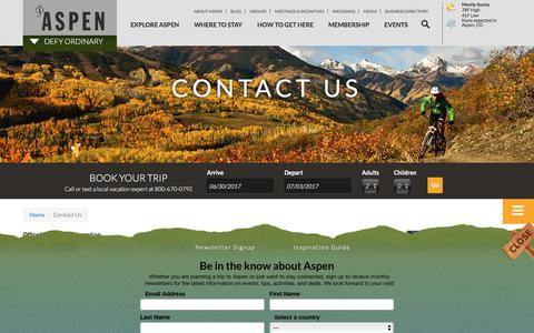Screenshot of Contact Page aspenchamber.org - Contact Us | Aspen CO Chamber - captured June 30, 2017