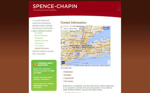 Screenshot of Contact Page spence-chapin.org - New York Office - Contact Us | About Spence-Chapin | Spence-Chapin Adoption Services - captured Sept. 19, 2014