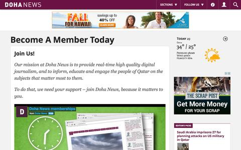 Screenshot of Signup Page dohanews.co - Become A Member Today - Doha News - captured Oct. 29, 2014