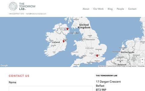 Screenshot of Contact Page thetomorrowlab.com - Contact - The Tomorrow Lab · Belfast · The Tomorrow Lab - captured June 21, 2017