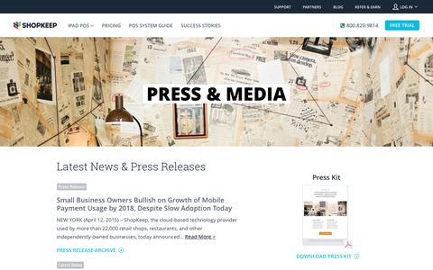Screenshot of Press Page shopkeep.com - Press - captured May 3, 2016