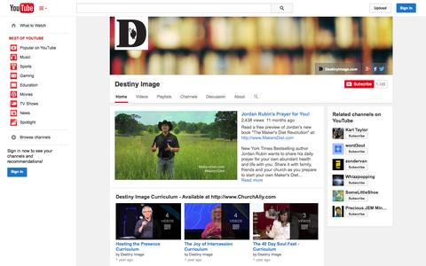 Screenshot of YouTube Page youtube.com - Destiny Image  - YouTube - captured Oct. 29, 2014