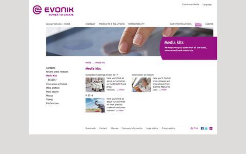 Media kits - Evonik Industries - Specialty Chemicals