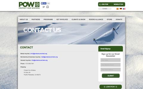 Screenshot of Contact Page protectourwinters.org - Contact - Protect Our Winters - captured Sept. 30, 2014