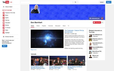 Screenshot of YouTube Page youtube.com - Don Barnhart  - YouTube - captured Oct. 23, 2014