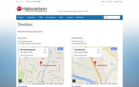 Screenshot of Maps & Directions Page halocarbon.com - Directions » - captured Oct. 1, 2014