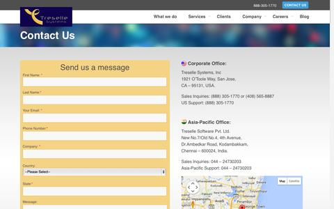 Screenshot of Contact Page treselle.com - Contact Us | Treselle Systems - captured Oct. 7, 2014