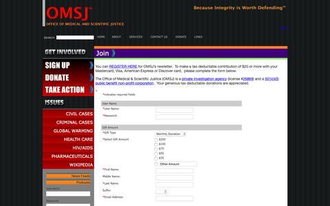 Screenshot of Signup Page omsj.org captured Oct. 18, 2018