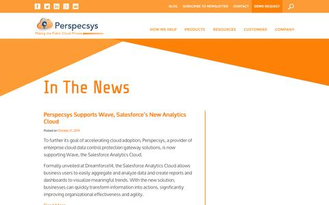 Screenshot of Press Page perspecsys.com - Cloud Security In the News, Cloud Security News| Perspecsys - captured Oct. 22, 2014