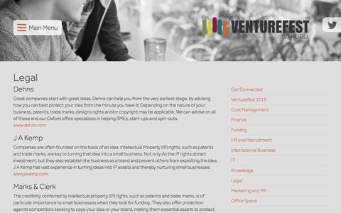 Screenshot of Terms Page venturefestoxford.com - Legal - Venturefest Oxford - captured Aug. 18, 2016