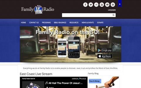 Screenshot of Home Page familyradio.org - Family Radio | To Proclaim the Word of God the Bible - captured March 1, 2016