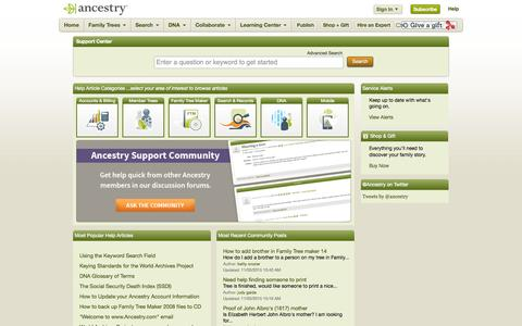 Screenshot of Support Page ancestry.com - Support Home Page - captured Nov. 3, 2015