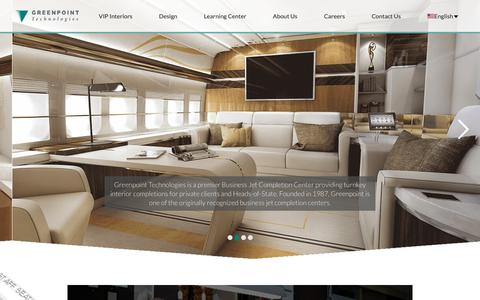 Screenshot of Home Page greenpnt.com - Greenpoint Technologies - Business Jet Interior Completions - captured Sept. 30, 2018