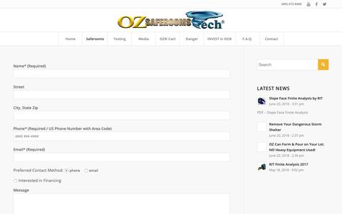 Screenshot of Pricing Page ozsaferooms.com - Pricing | Oz Saferooms - captured Oct. 19, 2018