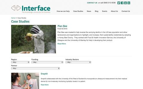 Screenshot of Case Studies Page interface-online.org.uk - Case Studies | Interface Knowledge Connection - captured Feb. 11, 2016