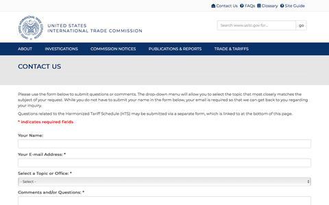 Screenshot of Contact Page usitc.gov - Contact Us | USITC - captured Aug. 7, 2019