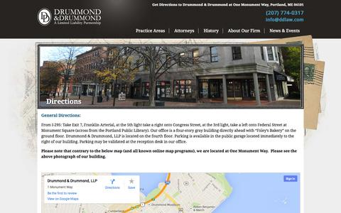 Screenshot of Maps & Directions Page ddlaw.com - Drummond & Drummond at One Monument Way, Portland, ME 04101 - Get Directions - captured Oct. 5, 2014