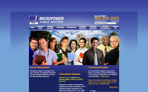 Screenshot of Home Page mpow.edu - Micropower Career Institute - captured Oct. 6, 2014