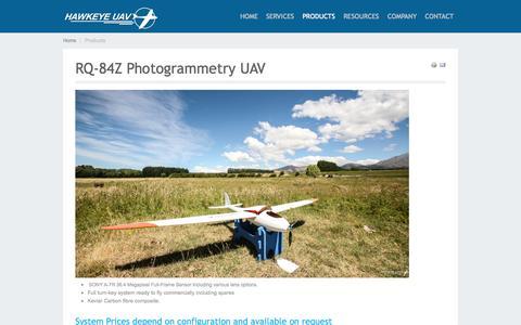 Screenshot of Products Page hawkeyeuav.com - Aerial Systems - HAWKEYE UAV - captured Oct. 2, 2014
