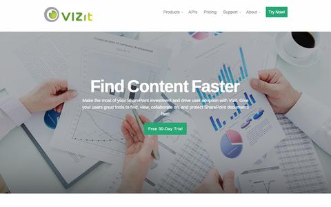 Screenshot of Home Page vizit.com - SharePoint Solutions for Finding, Viewing, and Protecting Content - captured Oct. 9, 2014