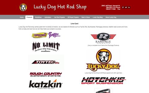 Screenshot of Products Page luckydoghotrodshop.com - Products - Lucky Dog Hot Rod Shop - captured Oct. 28, 2014
