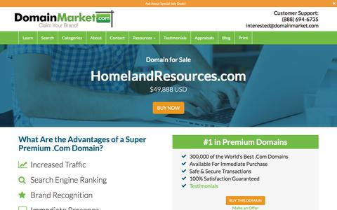 Screenshot of Home Page homelandresources.com - HomelandResources.com is available at DomainMarket.com - captured July 21, 2018