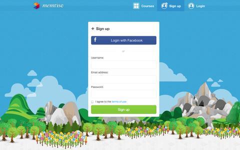 Screenshot of Signup Page memrise.com - Sign up - Memrise - captured Oct. 28, 2014
