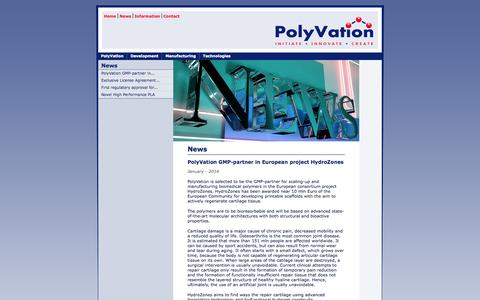 Screenshot of Press Page polyvation.com - PolyVation - polymers - development - synthesis - manufacturing - captured Sept. 30, 2014