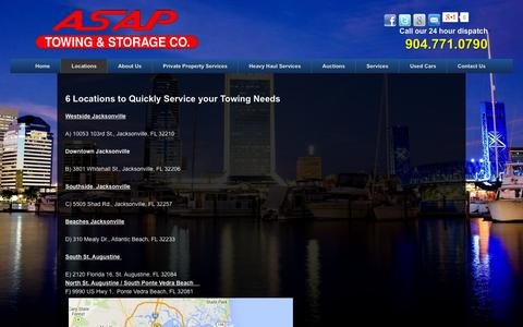 Screenshot of Locations Page asaptowing.net - Locations of ASAP Towing in Jacksonville & St. Augustine, Florida - captured Oct. 4, 2014