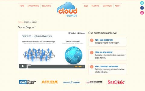 Screenshot of Support Page cloudsquads.com - CloudSquads - Support Solutions - captured Sept. 30, 2014