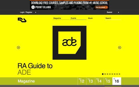 Screenshot of Home Page residentadvisor.net - RA: Resident Advisor - electronic music online - captured Oct. 16, 2015