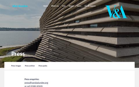 Screenshot of Press Page vam.ac.uk - V&A Dundee · Press - captured Oct. 22, 2018