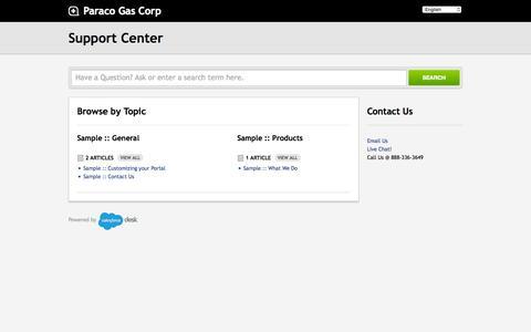 Screenshot of desk.com - Paraco Gas Corp      Portal - captured Sept. 24, 2015