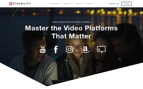 Screenshot of Home Page pixability.com - Brand-suitable video advertising software for the platforms that matter - captured Nov. 22, 2018