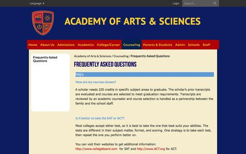 Screenshot of FAQ Page aascalifornia.org - Frequently Asked Questions - Academy of Arts & Sciences - captured Feb. 5, 2016