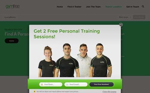 Screenshot of Locations Page gymfreetrainers.com - Locations – Find A Personal Trainer | Personal Trainers Near Me - captured July 20, 2016