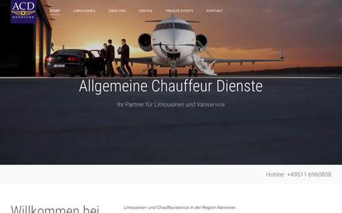 Screenshot of Home Page acd-hannover.de - ACD- Chaufferdienst Hannover – Limousinen- und Chauffeurservice Hannover. - captured Oct. 29, 2018
